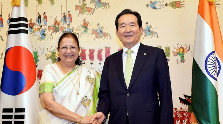 Lok Sabha Speaker Sumitra Mahajan with Speaker of the National Assembly of the Republic of Korea Chung Sye-KYUN in a meeting in Seou?l on Wednesday. PTI Photo