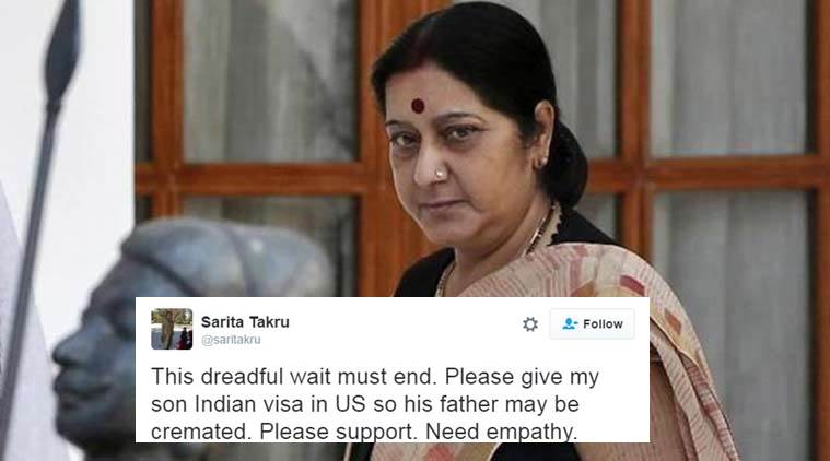 Sushma Swaraj helps son to perform the last rites of his father