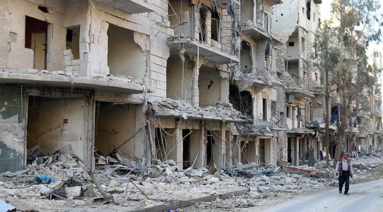 Aleppo tank shell attack, Aleppo UN building, United Nations building, Syrian war, Syrian civil war, Syria news, world news, latest news, Indian express