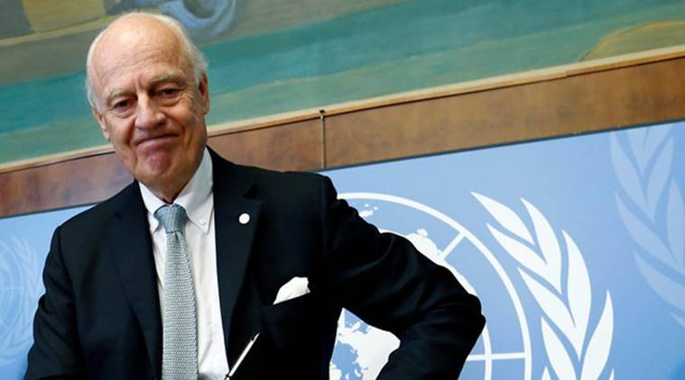 UN, United Nations, Syria envoy, Staffan de Mistura, Syria UN envoy, syria envoy resigns, Ban Ki Moon, world news, indian express news