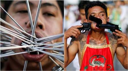 """thai vegetarian festival, Swords and skewers at Thailand, """"Nine Emperor Gods"""" festival, Jia Chai, indian express, indian express news"""