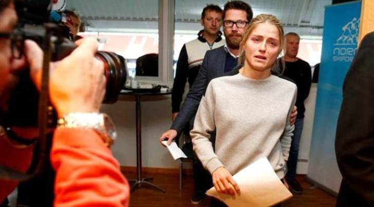 Norwegian three-time Olympic cross-country skiing medalist Therese Johaug arrives for press conference in Oslo
