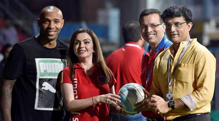 Thierry Henry and Nita Ambani at ISL match