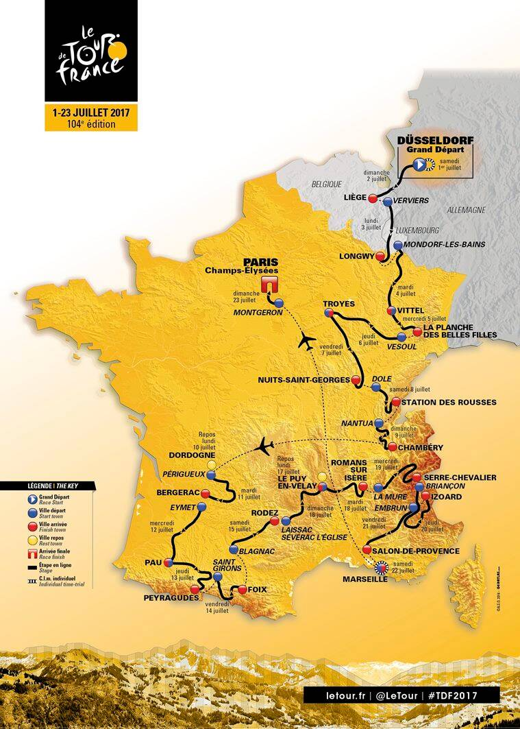 Tour de France, Tour de France route, Tour de France 2017 route, France Tour cycling route, Tour de France news, Sports