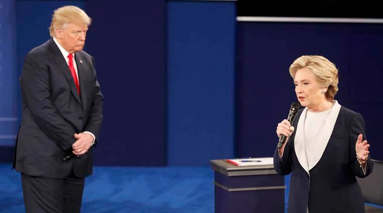 presidential debate, presidential debate 2016, hillary clinton donald trump, who won second presidential debate, who won second debtate us elections 2016, hillary clinton vs donald trump, hillary clinton donald trump handshake, world news, indian express,