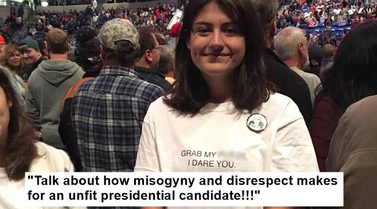 Trump, Trump and Hillary, US elections, Trump comments, trump sexist comments, trump's comments on women, trump remarks about women, donald trump and hillary clinton, girl's bold t shirt to trump rally, indian express. indian express news, trending globally