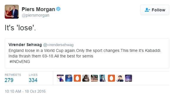 Piers Morgan Trolled Virender Sehwag For