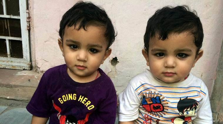 The Delhi twins who turned one this Diwali. They were conceived as monoamniotic twins (sharing the same amniotic sac within the uterus), which entails high-risk pregnancy. Such twins are born  approximately 1 in 35,000 to 1 in 60,000 pregnancies where serious complications could arise, especially for the foetus. (Source: PTI)