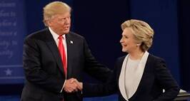 Republican presidential nominee Donald Trump shakes hands with Democratic presidential nominee Hillary Clinton following the second presidential debate at Washington University in St. Louis, Sunday, Oct. 9, 2016. (AP Photo/Patrick Semansky)