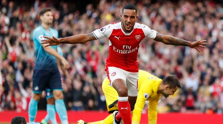 Image result for theo walcott goal vs swansea city