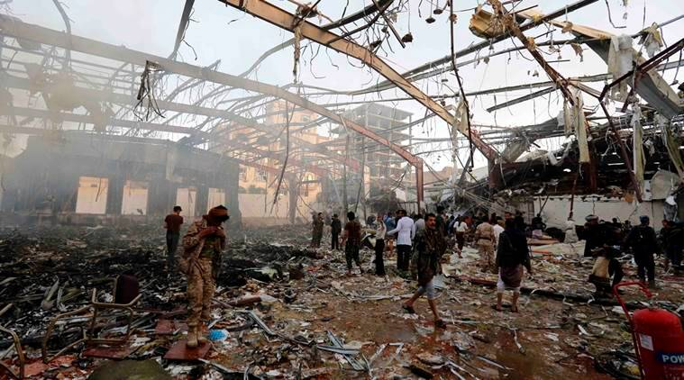 Yemen, yemen air strike, yemen funeral, yemen bombings, Iran, iran help, iran condemns attack, saudi led strike, world news, indian express