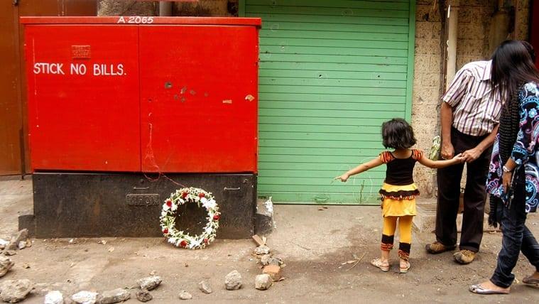 """A wreath laid at the spot where Maharashtra ATS chief Hemant Karkare, Ashok Kamte and Vijay Salaskar were gunned down, near Cama Hospital in Mumbai on Sunday. Prashant Nadkar"" *** Local Caption *** ""A wreath laid at the spot where Maharashtra ATS chief Hemant Karkare, Ashok Kamte and Vijay Salaskar were gunned down, near Cama Hospital in Mumbai on Sunday. Prashant Nadkar"""