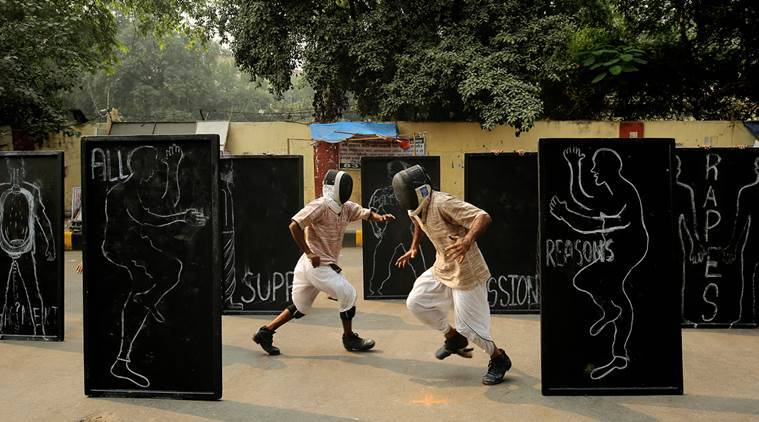 One step at a time: At Jantar Mantar, a performance of Untamed Donkeys. (Source: Express photo by Praveen Khanna)