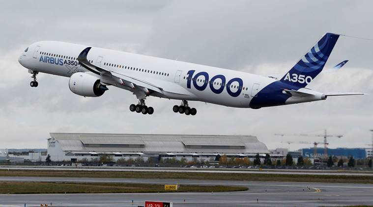 A350-1000, Airbus A350-1000, twin engined passenger jet, twin engined jet, airbus first flight, A350-1000 first flight, first flight, aviation news, business news, indian express news