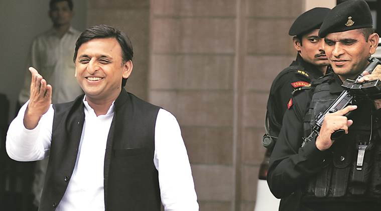 Akhilesh greets people at his official residence in Lucknow on Tuesday. Vishal Srivastav