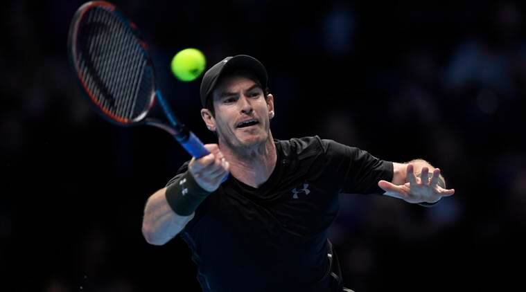 Great Britain's Andy Murray in action during his round robin match against Switzerland's Stanislas Wawrinka