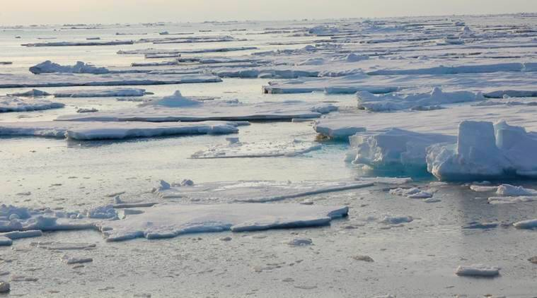 In this photo provided by Dirk Notz, taken, April 25, 2009, ice floats in the Arctic near Svalbard, Norway. At current carbon emission levels, the Arctic will likely be free of sea ice in September around mid-century, which could make weather even more extreme and strand some polar animals, a study published Thursday in the journal Science finds. (Dirk Notz via AP)
