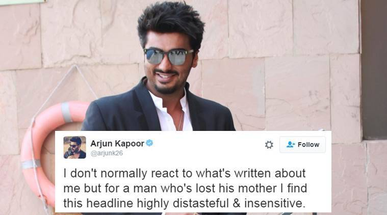 Arjun Kapoor is not happy with this headline published about his mother in a Hindi daily