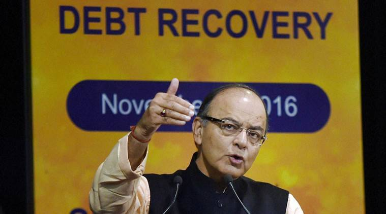 Gurugram: Union Minister for Finance and Corporate Affairs, Arun Jaitley addresses a seminar on Debt Recovery at SBI Academy in Gurugram on Saturday. PTI Photo by Manvender Vashist(PTI11_5_2016_000074B)