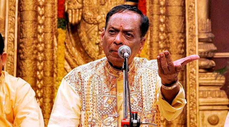 File photo of veteran Carnatic musician M. Balamuralikrishna who passed away in Chennai on Tuesday (PTI photo)