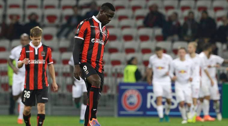 Nice's forward Mario Balotelli, reacts after a goal from Salzburg, during the Europa League group I soccer match between OGC Nice and FC Salzburg, in Nice stadium, southeastern France, Thursday, Nov. 3, 2016. (AP Photo/Claude Paris)
