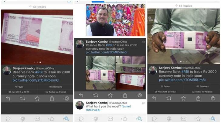 Screenshots of a tweet (now deleted) by a Punjab BJP leader on the government's move to introduce new Rs 2000 note
