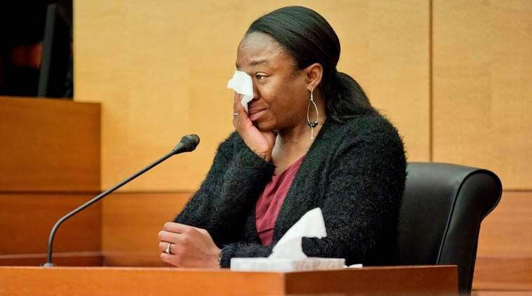 LaPrincia Brown, the half-sister of Bobbi Kristina Brown, cries on the witness stand in a wrongful death case against Bobbi Kristina's partner, Nick Gordon, in Atlanta, Thursday, Nov. 17, 2016. Bobbi Kristina Brown, daughter of singers Whitney Houston and Bobby Brown, was found face-down and unresponsive in a bathtub in her suburban Atlanta townhome in January 2015. (AP Photo/David Goldman, Pool)