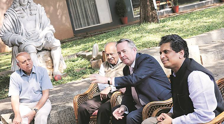 British Secretary of State for International Trade Liam Fox with Dr Jayant Narlikar, founder-director at IUCAA, and Somak Raychaudhury, director of IUCAA, on Wednesday. Express