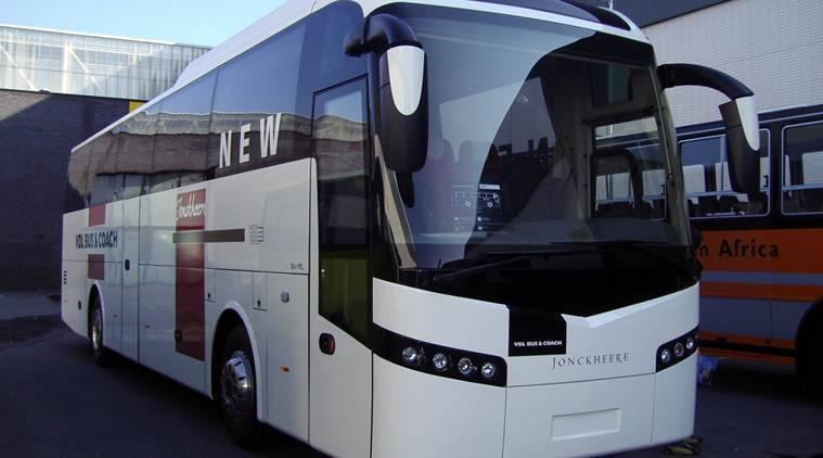 busworld 2016, busworld 2015, bus building company, MG group, Karnataka CM, bengaluru, Luxury Coach 'Mammoth', tarmac coach, Columbus, indian express news