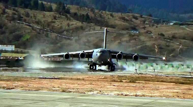 C-17, C-17 globemaster, Indian Air Force, IAF, indian aircraft, disaster preparedness, remote aeas, mountainous areas, Arunachal Pradesh, Mechuka Advanced Landing Ground, ALG, Mechuka, india news, indian express