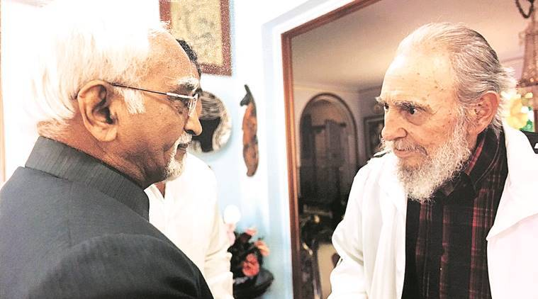 Vice-President Hamid Ansari with Fidel Castro at his home in Havana during their last meeting in 2013.
