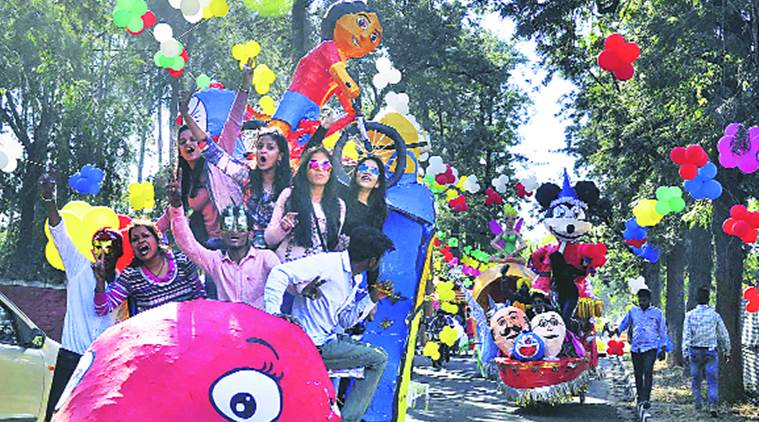 Students of Government College of Art with their floats at the inauguration of the carnival. Sahil Walia