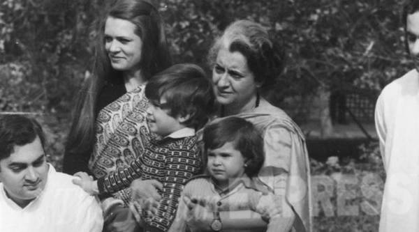 """Prime Minister Indira Gandhi along with Sons Rajiv Gandhi, Sanjay Gandhi and daughter in law Sonia Gandhi with grandchildren Rahul Gandhi and Priyanka Gandhi."" *** Local Caption *** ""Prime Minister Indira Gandhi along with Sons Rajiv Gandhi, Sanjay Gandhi and daughter in law Sonia Gandhi with grandchildren Rahul Gandhi and Priyanka Gandhi. Express archive photo"""
