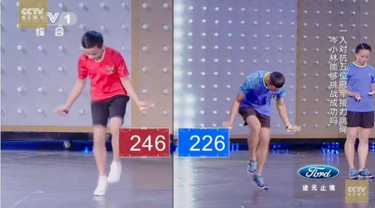 jumpinh, rope jumping, skipping, skipping challenge, fastest rope jumping contest, world record rope jumping, china rope jumping world record, fastest 1000 jumps record, fastest 1000 rope jumping record, viral video, trending video, latest news, indian express