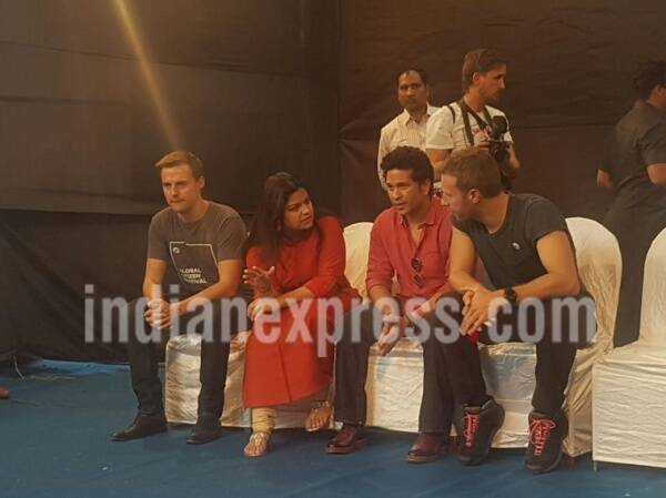 chris martin sachin tendulkar school visit, sachin tendulkar chris martin mumbai school, chris martin sachin tendulkar, sachin tendulkar chris martin, martin tendulkar, chris sachin, global citizen initiative, global citizen concert, chris martin india, coldplay india, entertainment updates, indian express, indian express news