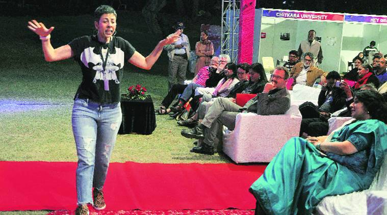 Author Radhika Vaz during the Chandigarh Literati festival at Lake Club in Chandigarh on Saturday. Sahil Walia