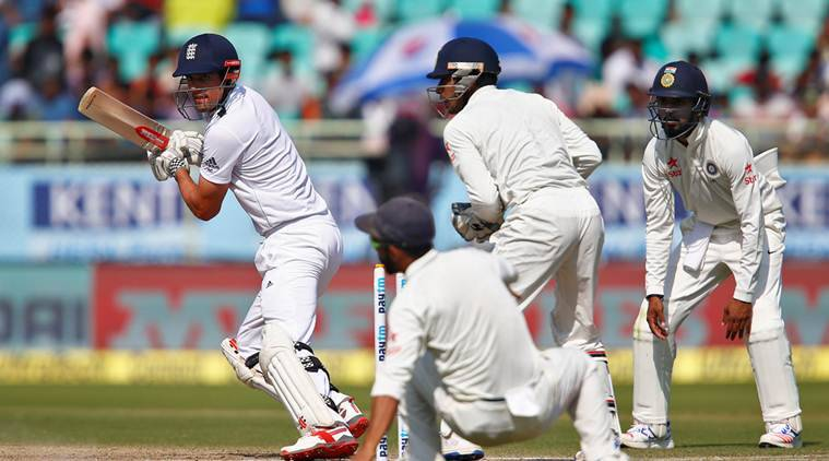 Cricket - India v England - Second Test cricket match - Dr. Y.S. Rajasekhara Reddy ACA-VDCA Cricket Stadium, Visakhapatnam, India - 20/11/16. England's Alastair Cook plays a shot. REUTERS/Danish Siddiqui