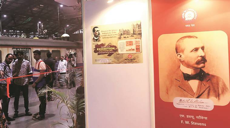 An exhibition of F W Stevens' drawings at platform no. 1 at CST on Friday. (Express Photo by Pradip Das)