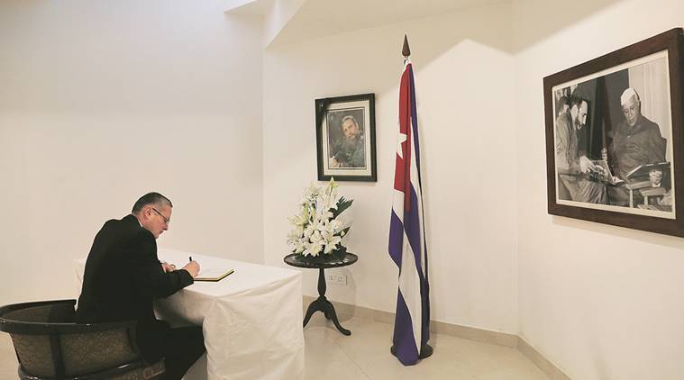 Egyptian ambassador Hatem  Tageldin pays tribute at the Embassy of Cuba. Express Photo by Renuka Puri