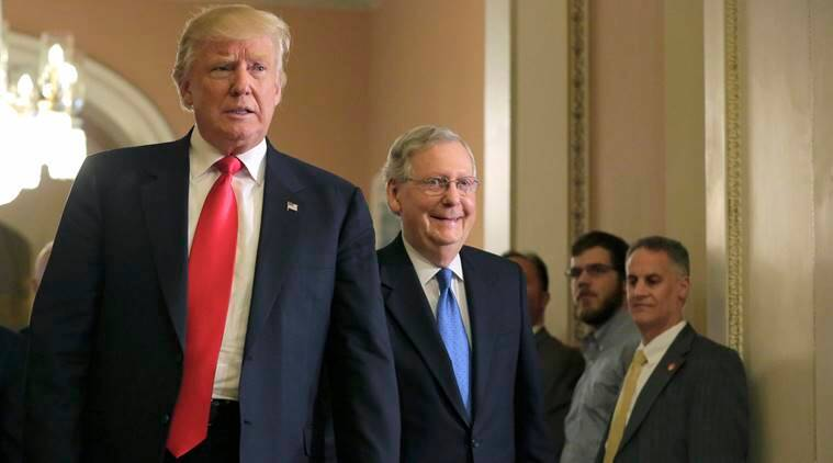 U.S. President-elect Donald Trump (L) walks with Senate Majority Leader Mitch McConnell (R-KY) on Capitol Hill in Washington, U.S., November 10, 2016. REUTERS/Joshua Roberts