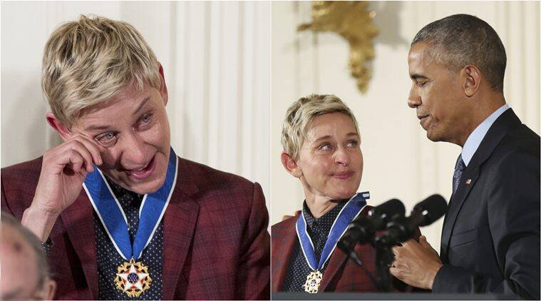 barack obama, ellen DeGeneres, , Presidential Medal of Freedom, ellen obama emotional video, ellen obama videos, ellen obama Presidential Medal of Freedom video, viral news, trennding news, latest news, indian express