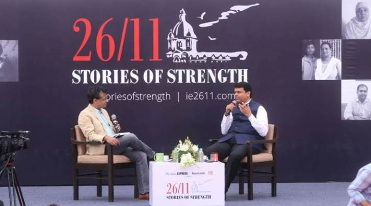Chief Minister Devendra Fadnavis with Indian Express Strategic Affairs Editor Praveen Swami in Mumbai