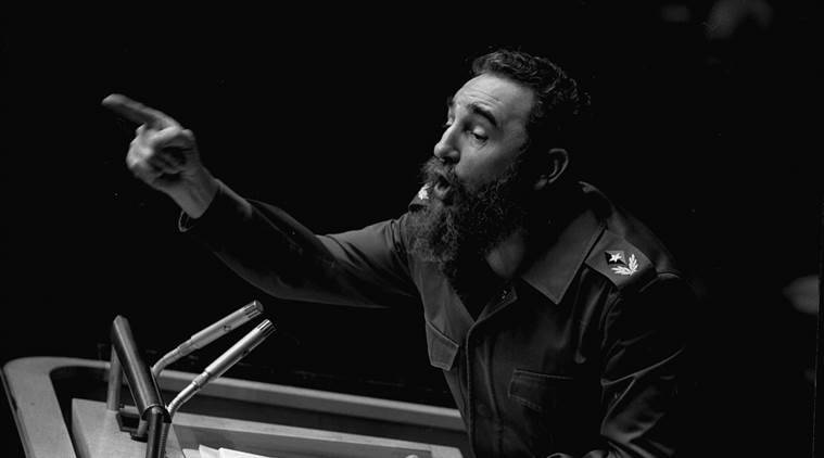 FILE - In this Oct. 12, 1979 file photo, Cuban President, Fidel Castro, points during his lengthy speech before the United Nations General Assembly, in New York. Cuban President Raul Castro has announced the death of his brother Fidel Castro at age 90 on Cuban state media on Friday, Nov. 25, 2016.  (AP Photo/Marty Lederhandler, File)