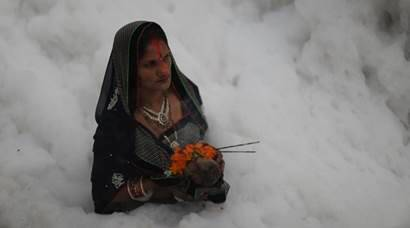 Yamuna river: Sea of froth welcomes devotees on Chhath Puja