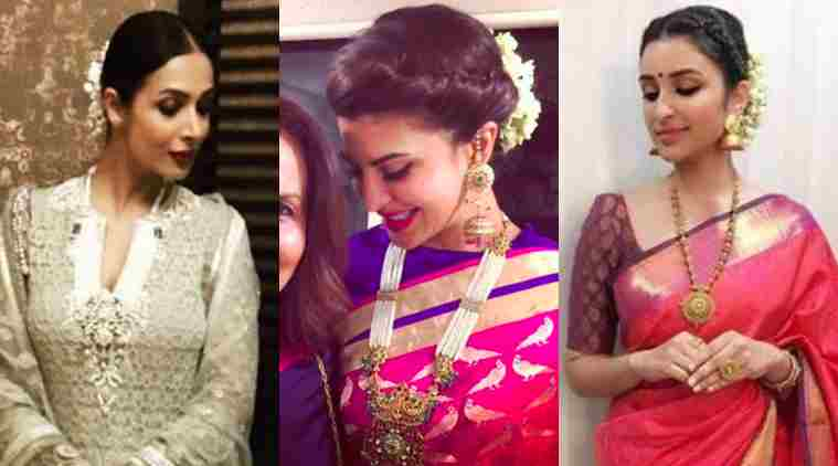 From L to R: Malaika Arora Khan, Jacqueline Fernandez and Parineeti Chopra rocking it with an updo.