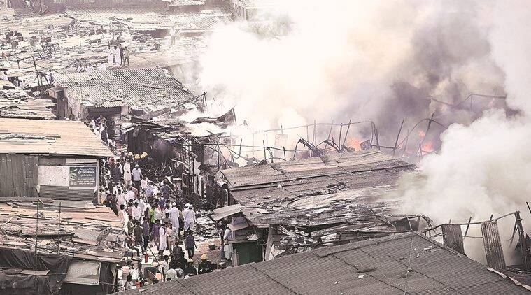 Fire, Mumbai fire, Mumbai fire accident, Ghas compound, MUmbai Ghas compound, Ghas compound fire, Oshiwara police station., BMC, BMC workers, Mumbai news, indian express news