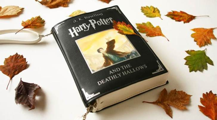A Harry Potter and the Deathly Hallows book bag.