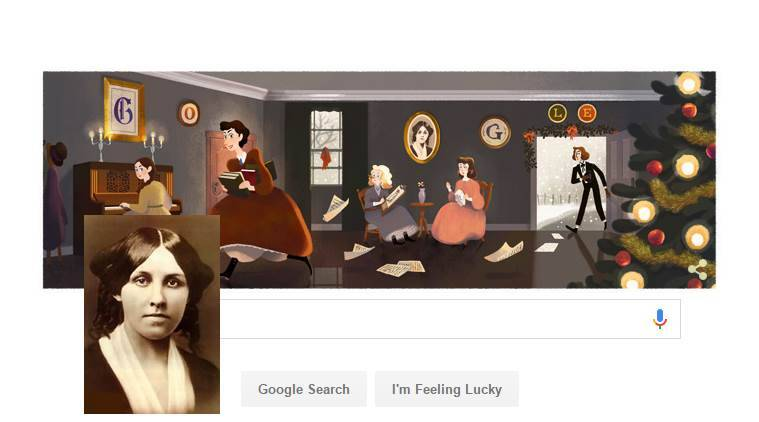 google doodle, louisa may alcott, google doodle louisa may alcott, little women, louisa may alcott 184th birth anniversary, indian express, indian express news