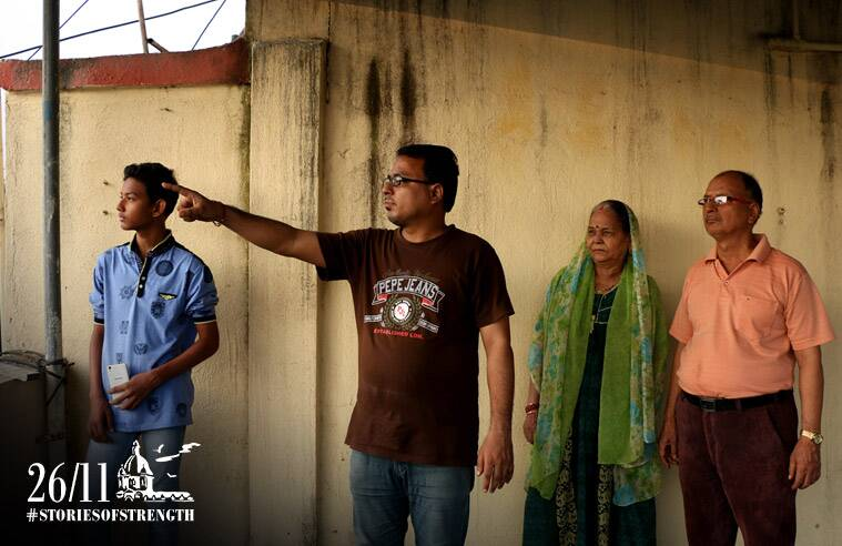 Govind with his parents and nephew in Thane. Express Photo/Amit Chakravarty