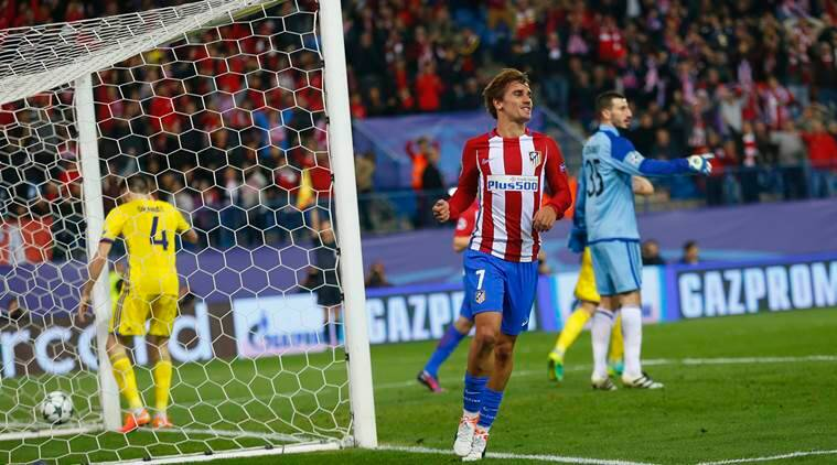 Atletico's Antoine Griezmann starts to celebrate after scored his side's 2nd goal which was initially disallowed during the Champions League Group D soccer match between Atletico Madrid and Rostov at the Vicente Calderon stadium in Madrid, Spain, Tuesday Nov. 1, 2016. (AP Photo/Francisco Seco)